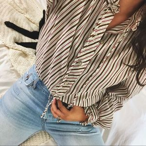 VINTAGE/ candy stripe blouse